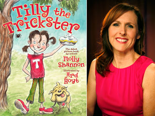 Molly Shannon headshot to the right of her book Tilly the Trickster, the basis of her TYA show