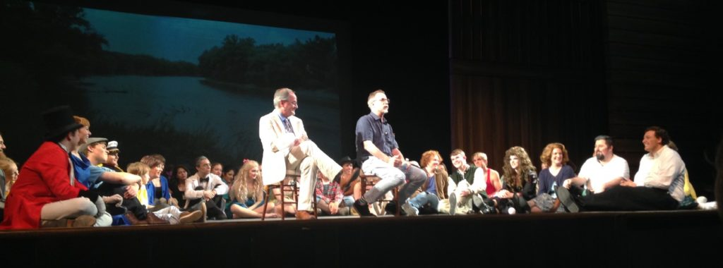 John August on stage with the cast of BIG FISH