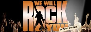 We Will Rock You School Edition Web Banner Black Background Flame Orange Text