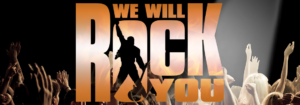 We Will Rock You Banner Black Background with raised hands and flame orange font