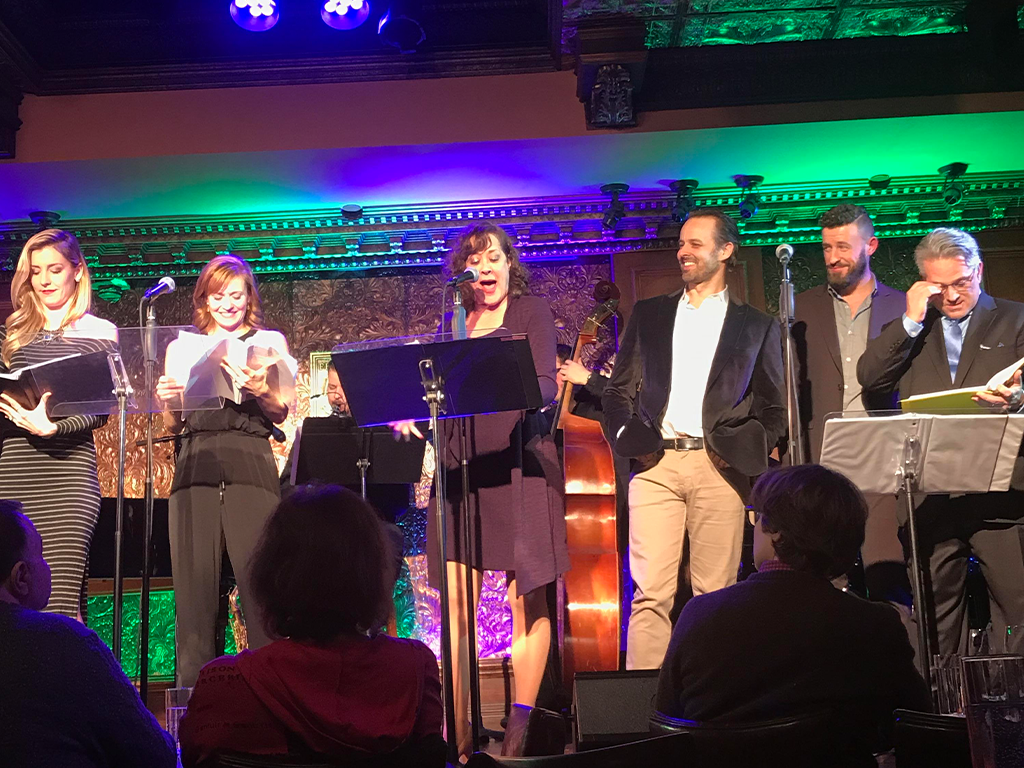 Karen Ziemba, Megan Sikora and Noah Racey at 54 Below Sings Curtains